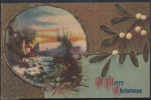 Greetings Postcard - A Merry Christmas - Gobelin Art Tapestry Series   DP590