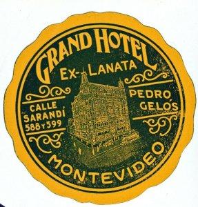 1930s Grand Hotel EX-Lanata Montevideo URUGUAY  Vtntage Luggage Label