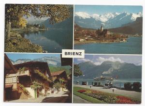 Switzerland Berne Brienz Lake Multiview Vintage Arthur Bauer Postcard 4X6