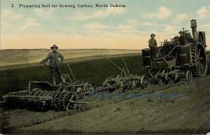 1910 Cathay North Dakota Postcard: Farmers Preparing Soil for Sowing