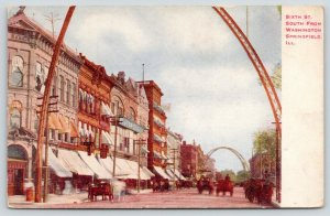Springfield Illinois~Sixth Street~Boston Department store~Horse Wagons~Arch~1908