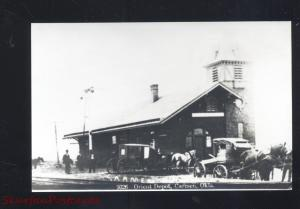 RPPC CARMEN OKLAHOMA ORIENT RAILROAD DEPOT TRAIN STATION REAL PHOTO POSTCARD