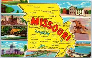 Missouri Big Letter State Map Postcard Multi-View 8 Scenes Curteich Chrome 1950s