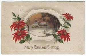 Vintage Christmas Greetings Postcard, Wooden Bridge Near Church in Winter, 1913