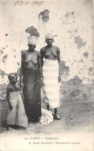 Maroc Morocco Senegalasses Topless Woman Antique Postcard J61054