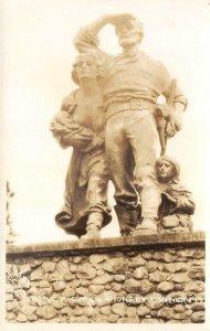RPPC Bronze Figures Pioneer Donner Monument, Truckee, CA c1930s Vintage Postcard