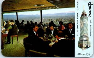 Vintage Mexico City Postcard MURALTO Restaurant Bar Latin American Tower c1950s