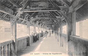 Switzerland Old Vintage Antique Post Card Luzern Inneres der Kapellbrucke Unused