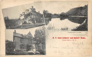 G55/ Bath New York Postcard 1906 State Soldiers Sailors Home 3View