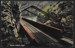 Royal Gorge Pavilion Over Railroad Tracks Colorado Unused c1910s