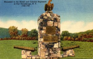 New York Fort Ticonderoga Monument To British and Colonial Regiments Curteich