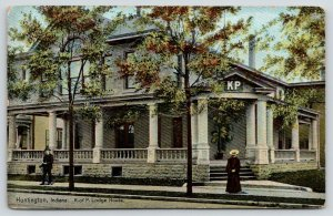 Huntington Indiana~Knights of Pythias Lodge House~KP Over Door~Lady at Curb~1908