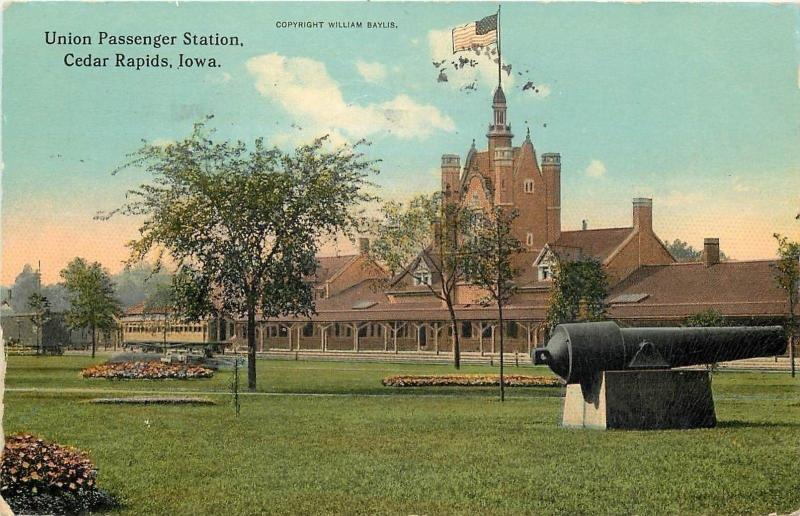 Cedar Rapids Iowa~Cannon at Union Passenger Station~Fortress Tower~1912 Postcard