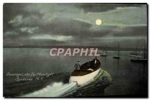 Postcard Old Onondago Lake By Moonlight Boat Syracuse