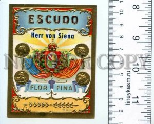 500100 ESCUDO Vintage embossed cigar box label