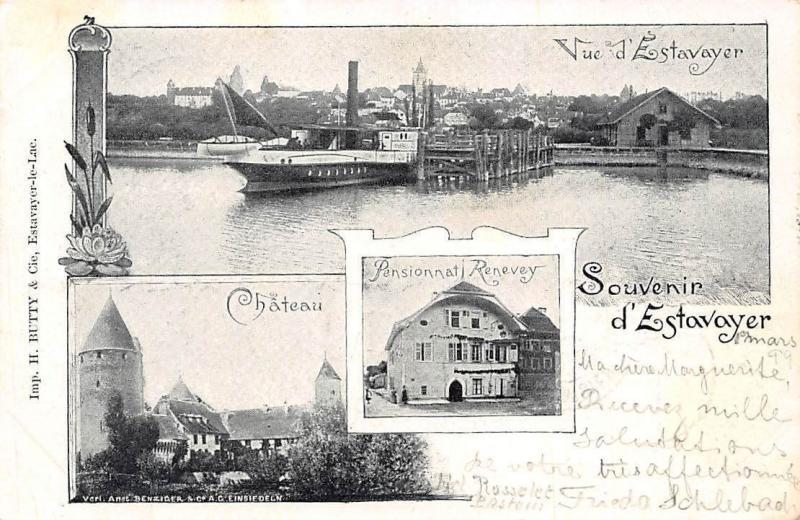 Switzerland Souvenir: Vue d'Estavayer, Chateau, Pensionnat