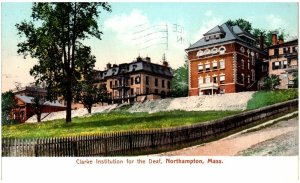 Clarke Institution for the Deaf Northampton MA c1908 postcard