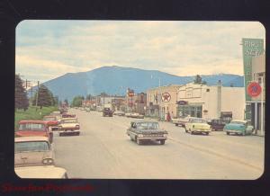 THOMPSON FALLS MONTANA 1960's CARS DOWNTOWN STREET SCENE VINTAGE POSTCARD