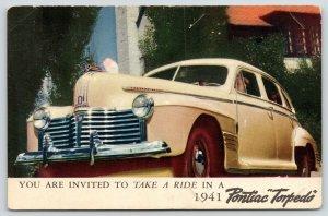 1941 Four-Door Cream-Colored Pontiac Torpedo~Come Take A Ride Advertising PC
