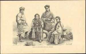 bhutan, Bhutia Native People in Costumes, Jewelry (1890s)  Old Print