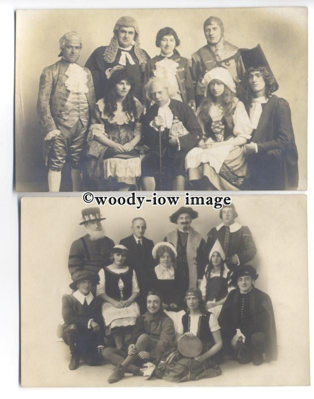 b3578 - Actors - Theatre Groups/Various Costumes, Leeds Photography- 2 postcards