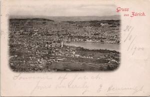 Gruss aus Zurich Switzerland Birdseye Suisse Schweiz c1900 Postcard E45