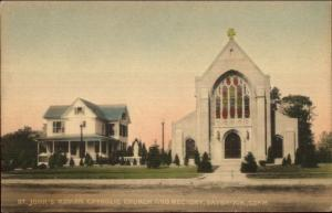 Saybrook CT Church & Rectory Hand Colored Postcaqrd