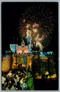 Postcard Anaheim CA c1960s Disneyland Fantasy In The Sky Fireworks 01110486