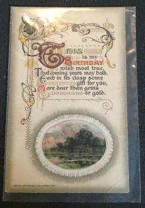 "Postcard Used Embossed ""Birthday Wish"" House LB"