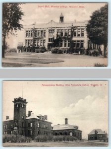 2 Postcards WOOSTER, OH  Ohio Agricultural Station & Scovil Hall WOOSTER COLLEGE