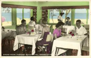 Grand Cayman B.W.I., Pageant Beach Hotel, Dining Room (1940s) Tinted RPPC