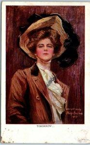 Artist-Signed PHILIP BOILEAU Postcard TOMORROW... Large Hat / Fashion - 1909