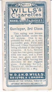 Cigarette Card Wills Naval Dress & Badges No 42 Gunlayer, 3rd Class