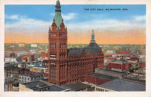 The City Hall, Milwaukee, Wisconsin, Early Postcard, Unused