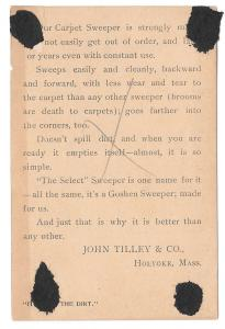 Goshen Carpet Sweeper Victorian Trade Card A Christmas Gift Grand Rapids MI