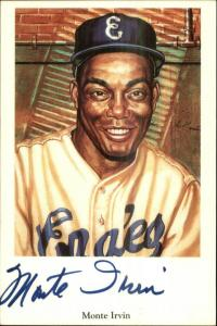 Black Americana Baseball Capital Ltd Postcard MONTE IRVIN AUTOGRAPH