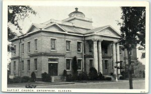 Enterprise, Alabama Postcard Baptist Church  Street View Graycraft c1940s