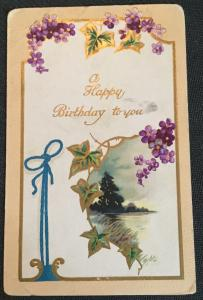"""Postcard Unused writing on back """"A Happy Birthday to You"""" Flowers LB"""