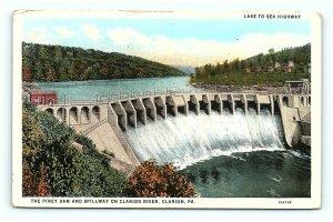 Postcard PA Piney Dam Spillway Clarion River Lake to Sea Highway G13