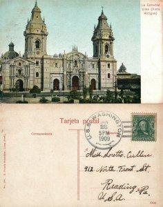 LA CATEDRAL LIMA PERU VISTA ANTIGUA 1909 ANTIQUE POSTCARD