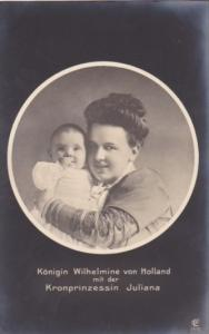 Queen Wilhelmina From Holland and Princess Juliana Real Photo