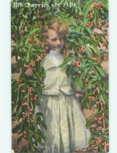 Pre-Linen Risque PRETTY GIRL POSING IN CHERRY TREE - READ THE TEXT AC1464