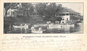 Clark's Lake Michigan~Pleasant View Resort Hotel~Canoes at Boat House~1907 B&W