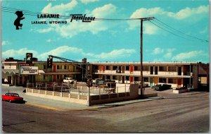Laramie, Wyoming Postcard TRAVELODGE MOTEL 3rd Street View Roadside 1960s Unused