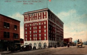 Ohio Akron Corner Of Main and Market Streets 1913