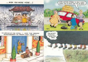Disaster Holiday incl Hotel Bad Guest Weather etc 4x Comic Humour Postcard