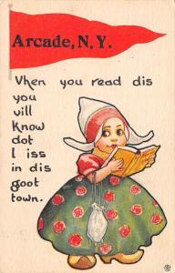 I Iss in the Goot Town of Arcade New York~Read Dis~Girl With Book~1914 Pennant