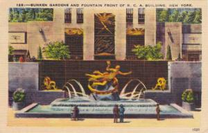 Gardens and Fountain - RCA Building - New York City - pm 1947 - Linen
