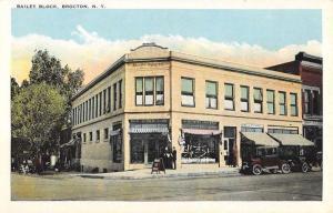 Brocton New York Bailey Block Street View Antique Postcard K63998