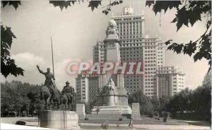 Postcard Modern Madrid Plaza de Cervantes Monument Spagne